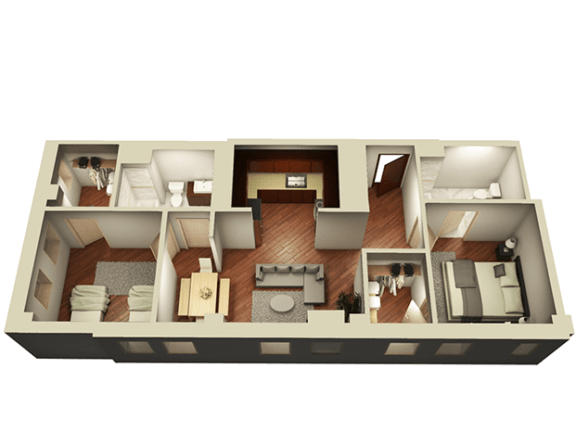 Floor Plan  2 Bed 2 Bath 1006 sqft 3D Floor Plan at Somerset Place Apartments, Chicago, Illinois