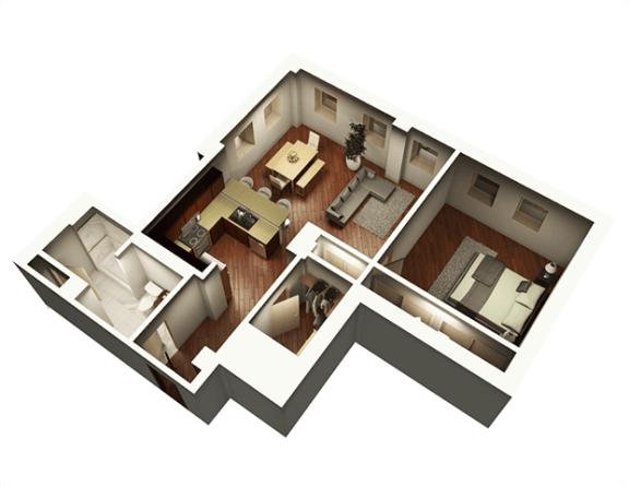 Floor Plan  The Penthouse 927 sqft 3D Floor Plan at Somerset Place Apartments, Illinois, 60640