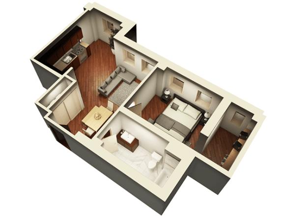Floor Plan  The Penthouse 738 sqft 3D Floor Plan at Somerset Place Apartments, Illinois