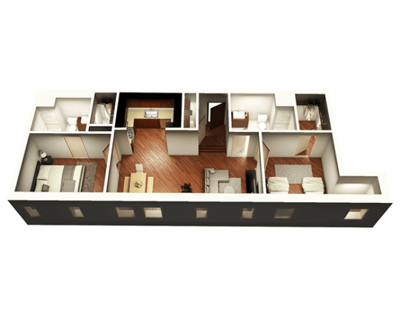 Floor Plan  The Penthouse 1050 sqft 3D Floor plan at Somerset Place Apartments, Chicago