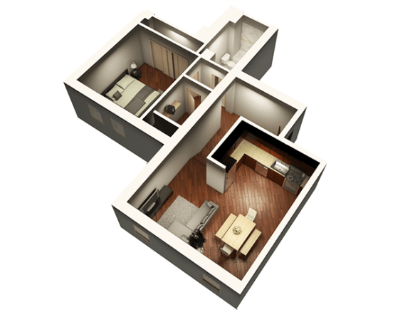 Floor Plan  The Penthouse 894 sqft 3D Floor Plan at Somerset Place Apartments, Chicago, 60640