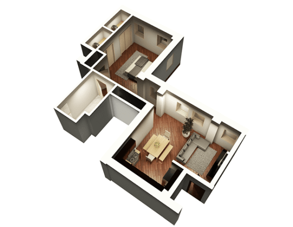 Floor Plan  The Penthouse 771 sqft 3D Floor Plan at Somerset Place Apartments, Chicago, IL, 60640