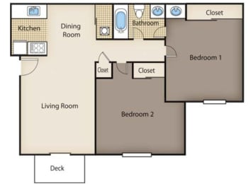 Renovated 2 bed w/out Den Floor Plan at Cook's Crossing, Ohio