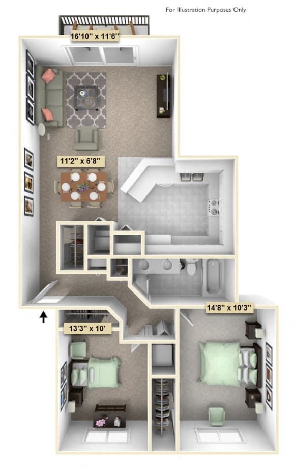 Floor Plan  Two Bedroom Juniper Floor Plan at Thornridge Apartments, Grand Blanc