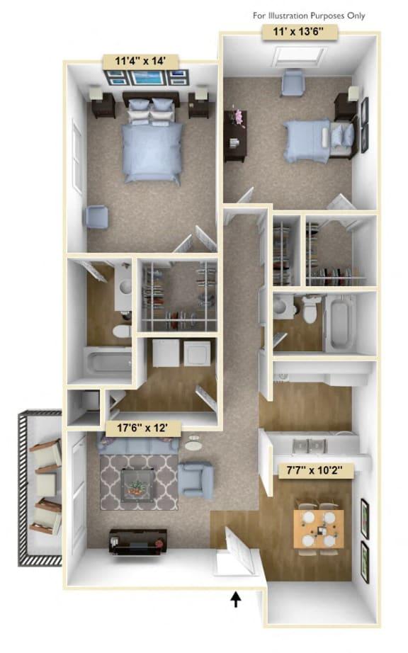 Floor Plan  Two Bedroom Spruce Floor Plan at Thornridge Apartments, Grand Blanc, MI