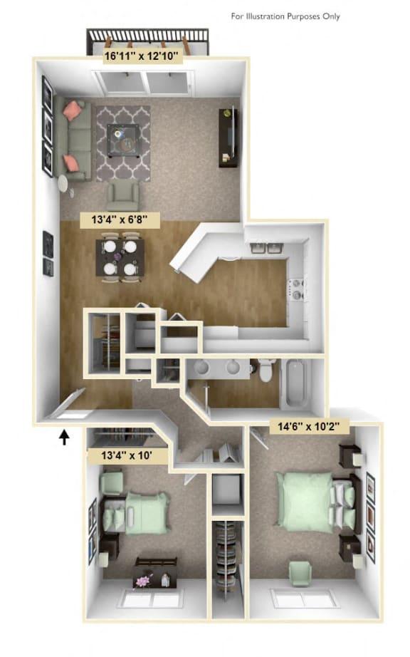 Floor Plan  Two Bedroom Birchwood Deluxe Floor Plan at Tanglewood Apartments, Oak Creek, Wisconsin