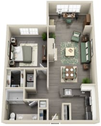 Floor Plan  One Bedroom One Bathroom  at The Grand Reserve at Tampa Palms Apartments, Tampa