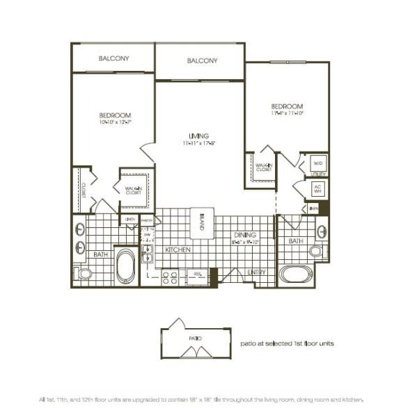 Floor Plan  Two Bedroom Floor plan with complete kitchen area in plantation florida