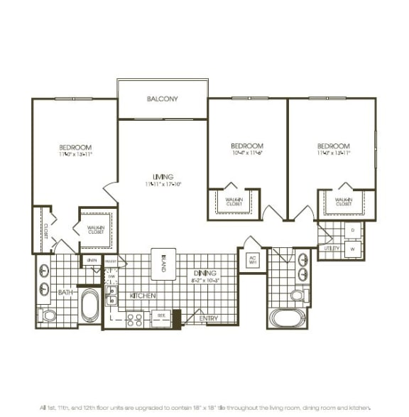 Floor Plan  Three Bedroom Floorplan drawing