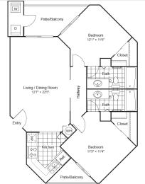 2 Bed 2 Bath Floor Plan at Scottsdale Horizon Apartments, Scottsdale, 85260