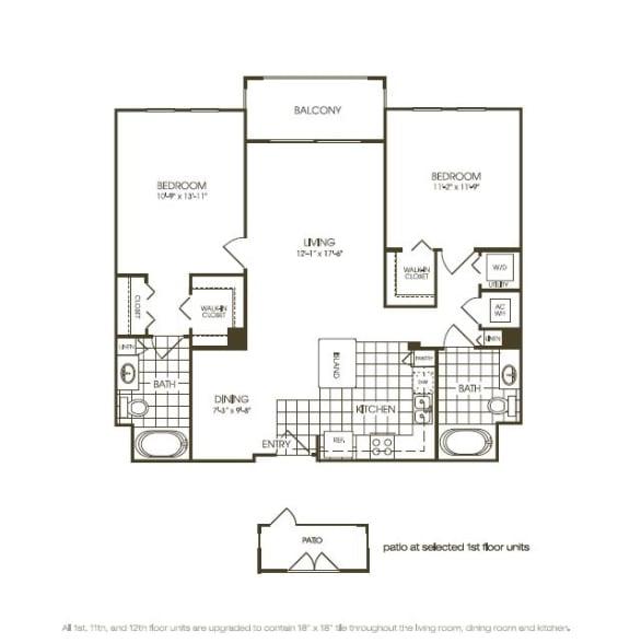 Floor Plan  Two Bedroom Floor plan with large windows in plantation florida