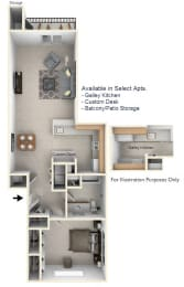 1-Bed/1-Bath, Frances Floor Plan at Towne Lakes Apartments, Wisconsin