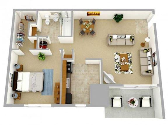 Floor Plan  One bedroom apartment floor plan in Williamsburg Va