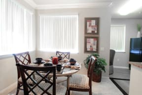 Dining area with large windows
