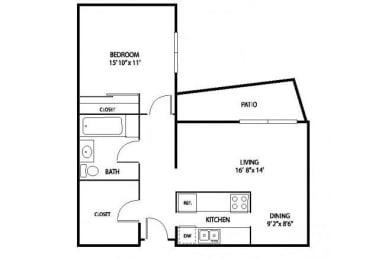 Floor Plan  Oakwood Apartments in Plymouth, MN 1 Bedroom 1 Bath