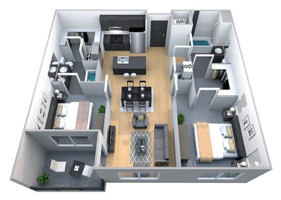 Floor Plan  Harvard 2 Bedroom 2 Bath Floorplan at Cycle Apartments, Ft. Collins