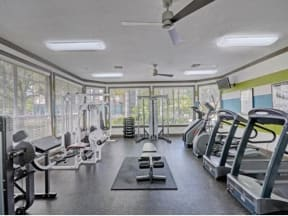 Fitness center with multiple cardio and weight machines