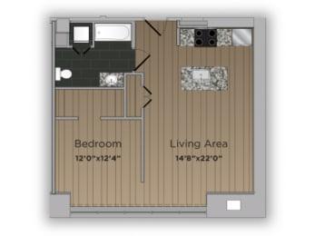 1 Bed 1 Bath Coach Floor Plan at 101 Ellwood, Baltimore