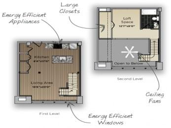 1 Bedroom 1 Bathroom Counselor Floor Plan at 101 Ellwood, Maryland