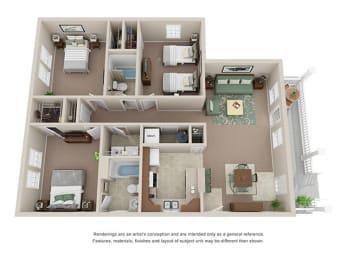 3 bedroom 2 bathroom townhome at Ashley Midtown in Savannah, Georgia