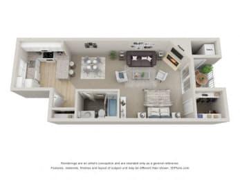 Studio 3D Floor Plan at the Haven of Ann Arbor, 459 Village Green Blvd, Ann Arbor