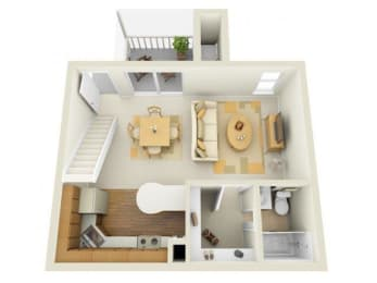 Lake in the Woods 0 bedroom 1044 sq ft floor plan with kitchen, dining/living, 1.5 bathrooms, closets, balcony/patio and storage