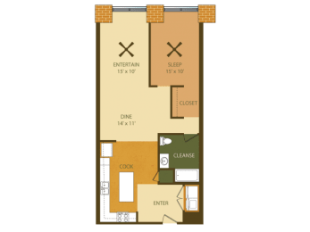 Loray Mill Floor Plan One Bedroom