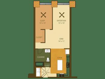 Loray Mill Floor Plan One Bedroom 2