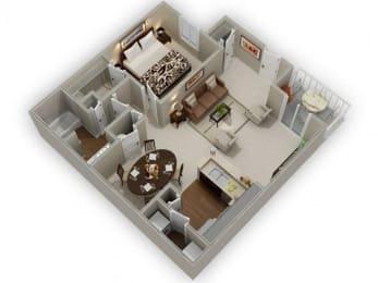 One Bedroom One Bathroom Floor Plan Hickory