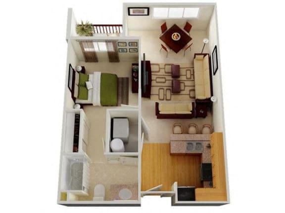 Floor Plan  Six1Five Apartments One Bedroom One Bathroom Floor Plan