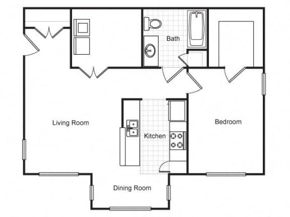 Floor Plan  1 Bedroom 1 Bath 2D Floorplan-Metropolitan Village and Cumberland Manor Apartments, Little Rock, AR