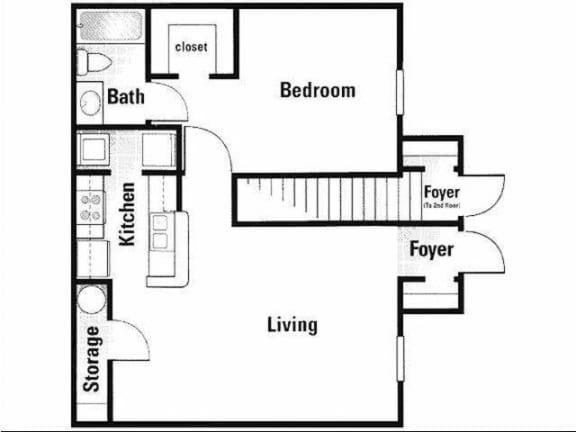 Floor Plan  One Bedroom One Bathroom Storage Closet Naples Florida