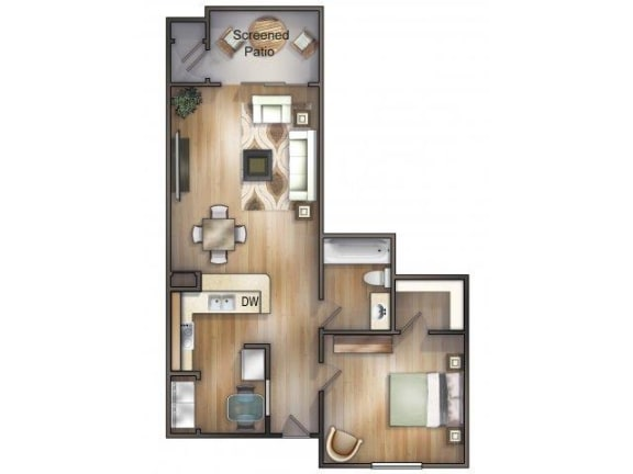Floor Plan  Mallorca Floor plan One Bedroom one Bathroom Mira Lagos Bradenton, Florida