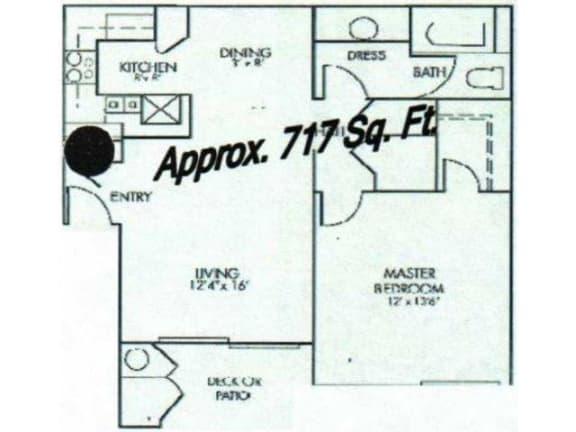 Floor Plan  Cordoba Floor Plan one bedroom one bathroom Valencia Las Vegas, Nevada