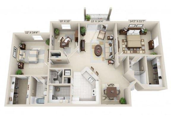 Floor Plan  Two bedroom two and a half bathroom with den 3D floor plan