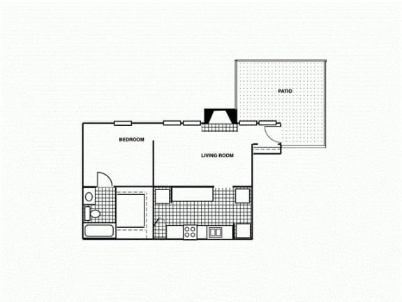 Floor Plan  1B Downstairs. Soft one bedroom, one bath with large closet and patio