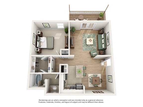 Floor Plan  The Brookwood Apartment Homes - 1 Bedroom 1 Bath Apartment