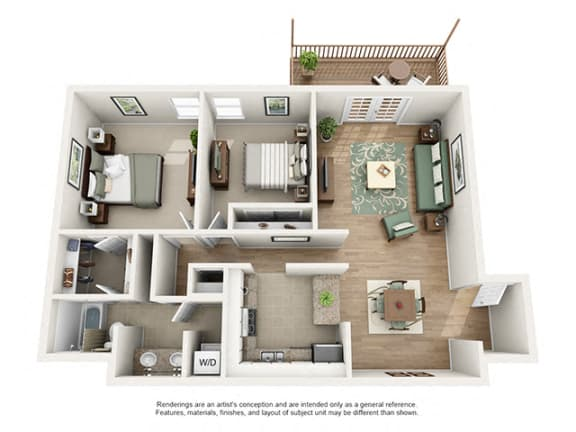 Floor Plan  The Brookwood Apartment Homes - 2 Bedroom 1 Bath Apartment