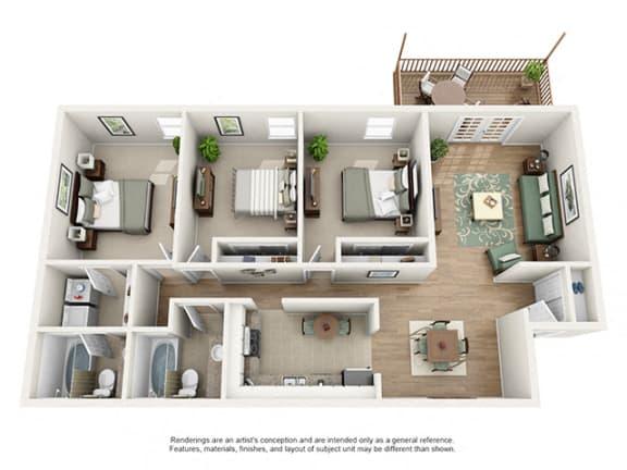 Floor Plan  The Brookwood Apartment Homes - 3 Bedroom 2 Bath Apartment