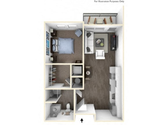 Floor Plan  275.1B-A 3D Floor Plan at The George & The Leonard, Atlanta, 30312