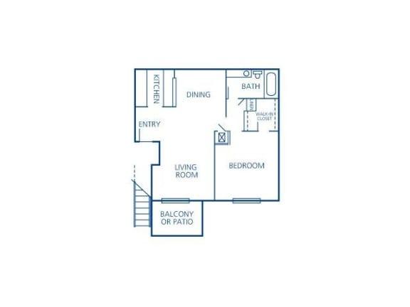 One Bedroom One Bath Floor Plan |Bay Club