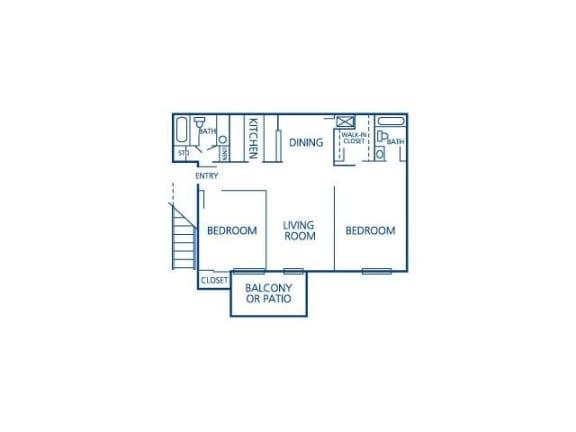 Two Bedroom Two Bath Floor Plan  Bay Club