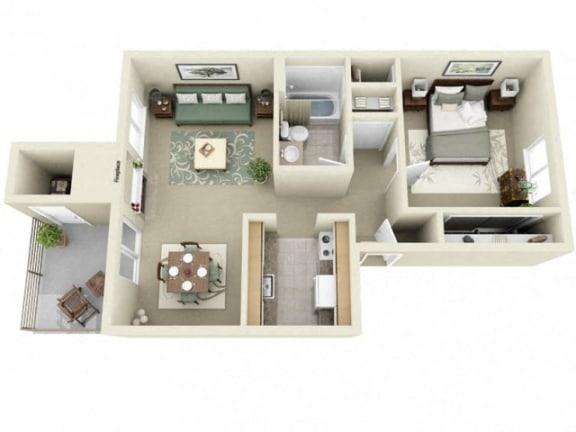 Floor Plan  Montair at Somerset Hill Baker 1Bed/1Bath