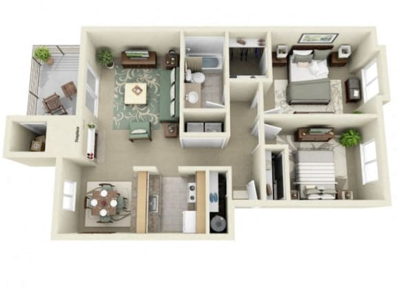 Floor Plan  Montair at Somerset HillCrystal 2Bed/1Bath