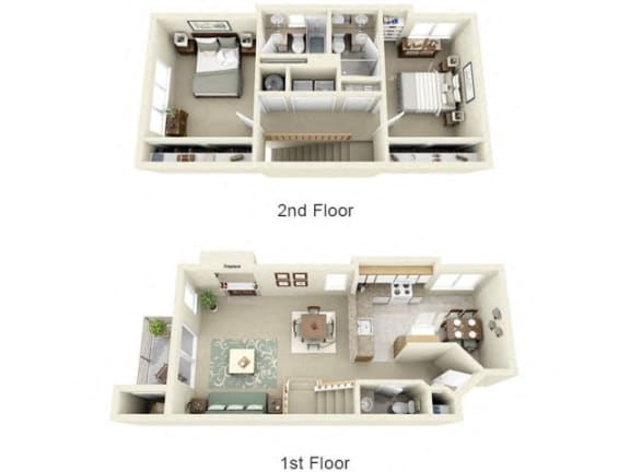 Floor Plan  Montair at Somerset Hill Townhouse 2Bed/2.5Bath