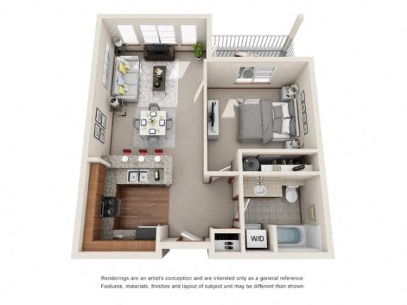 Floor Plan  1 Bed 1 Bath Floor plan at Harrington Square, Renton, WA