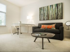 Living room couch Apartments in San Mateo| Mode Apartments