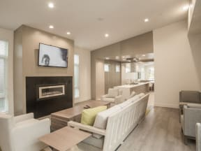 Furnished Clubhouse with TVApartments in San Mateo| Mode Apartments