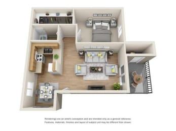 Floor Plan  1 bed 1 bath 3D floor plan
