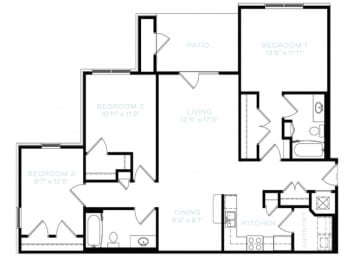 Three Bedroom | Two Bathroom Floor Plan at The Standard at Whitehouse, Tennessee, 37188